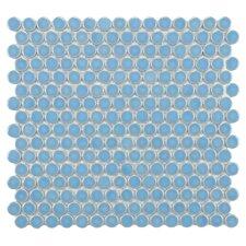 "Penny 0.8"" x 0.8"" Porcelain Mosaic Tile in Light Blue"