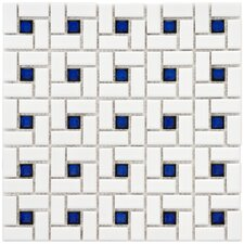 Retro Random Sized Porcelain Mosaic Tile in White and Blue