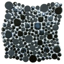 "Posh Bubble 11.25"" x 12"" Porcelain Mosaic Tile in Black"