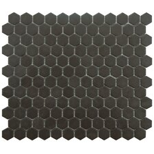 "New York 0.875"" x 0.875"" Hex Porcelain Unglazed Mosaic Tile in Antique Black"