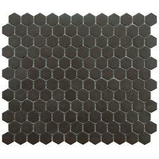 "New York 0.875"" x 0.875"" Hex Porcelain Unglazed Mosaic Tile in Antique Black"