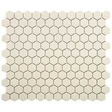 "New York 0.875"" x 0.875"" Hex Porcelain Unglazed Mosaic Tile in Antique White"