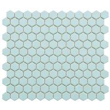 """Retro 0.875"""" x 0.875"""" Hex Porcelain Mosaic Tile in Matte Light Blue"""