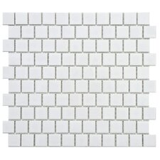 "Retro 1"" x 1"" Square Offset Porcelain Mosaic Tile in Glossy White"