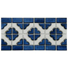 "Castle 5.75"" x 11.75"" Porcelain Mosaic Border Tile in White and Cobalt"