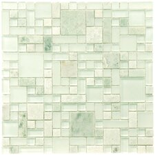 "Sierra 11.75"" x 11.75"" Glass and Natural Stone Mosaic Tile in Ming"