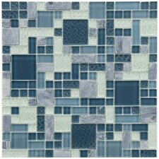 "Sierra 11.75"" x 11.75"" Glass and Natural Stone Mosaic Tile in Versailles Gulf"