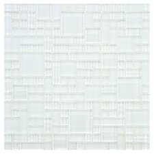 "Sierra 11.75"" x 11.75"" Glass Mosaic Tile in Versailles Ice White"