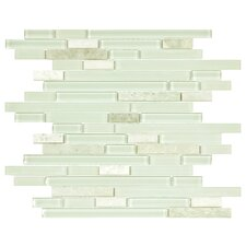 "Sierra 11.75"" x 11.875"" Glass and Natural Stone Mosaic Tile in Ming"