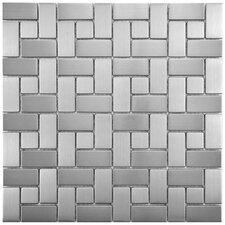 "Metallic 11.75"" x 11.75"" Stainless Steel Over Porcelain Mosaic Tile in Silver"