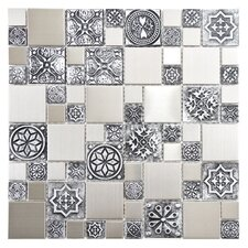 "Metallic 11.75"" x 11.75"" Stainless Steel Over Porcelain Mosaic Tile in Versailles Silver"
