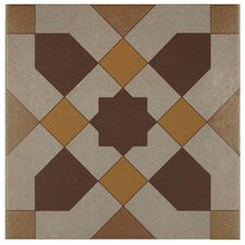 "Cementa 7"" x 7"" Ceramic Glazed Tile in Geo Centro (Set of 2)"