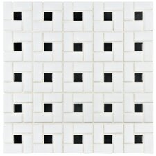 "Retro 12.5"" x 12.5"" Porcelain Mosaic Tile in White and Black"