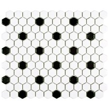 "Retro 0.875"" x 0.875"" Hex Porcelain Mosaic Tile in Matte White with Black Dots"