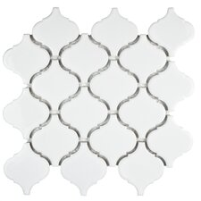 "Retro Lantern 2.87"" x 3.06"" Porcelain Mosaic Tile in Glossy White"