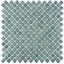 "Gem 0.75"" x 0.75"" Porcelain Mosaic Tile in Glossy Marine"
