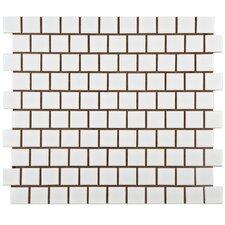 "Retro 1"" x 1"" Square Offset Porcelain Mosaic Tile in Matte White"