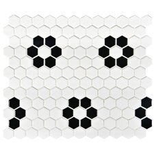 "Retro 0.875"" x 0.875"" Hex Porcelain Mosaic Tile in White with Heavy Flower"
