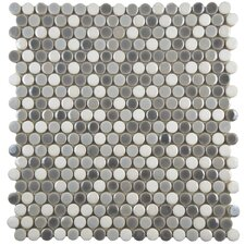 "Tucana .59"" x .59"" Porcelain Mosaic Tile in Gray and White"