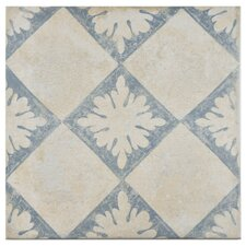 "Morales 13"" x 13"" Porcelain Field Tile in Blanco Décor"