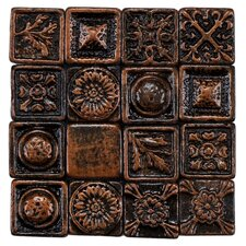"Barroco 1"" x 1"" Metallic Resin Wall Medallion Tile in Copper"