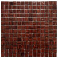 "Fused 0.75"" x 0.75"" Glass Mosaic Tile in Burgundy"
