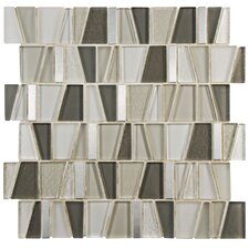 "Trapeze 11.75"" x 11.875"" Glass and Aluminum Mosaic Tile in Beige"