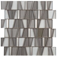 "Trapeze 11.75"" x 11.875"" Glass and Aluminum Mosaic Tile in Grey"