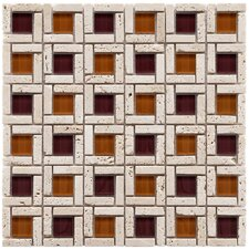 Sierra Random Sized Glass and Natural Stone Mosaic Tile in Sienna
