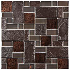 "Eden 11.75"" x 11.75"" Glass and Stone Mosaic Tile in Walnut"