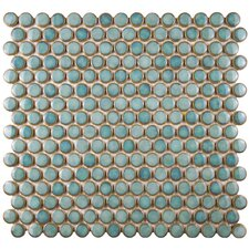 "Penny 0.8"" x 0.8"" Porcelain Mosaic Tile in Marine"