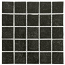 "Utopia 2.28"" x 2.28"" Porcelain Mosaic Tile in Storm Black"