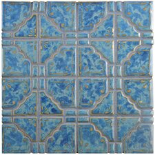"Moonlight 11.75"" x 11.75"" Porcelain Mosaic Tile in Pacific Blue"