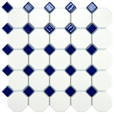 "Retro 11.5"" x 11.5"" Porcelain Mosaic Tile in Matte White with Cobalt Dot"