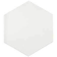 "Tessile 9.88"" x 8.63"" Basic Porcelain Floor and Wall Tile in White"