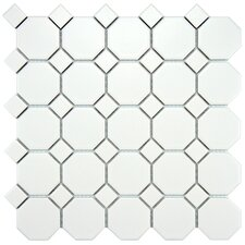 "Retro 11.5"" x 11.5"" Porcelain Mosaic Tile in Matte White with White Dot"