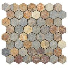 "Peak 1.375"" x 1.375"" Natural Stone Mosaic Tile in Sunset"