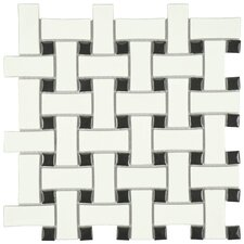 "Retro Basket Weave 10.5"" x 10.5"" Porcelain Mosaic Tile in Matte White and Black"
