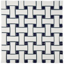 "Retro Basket Weave 10.5"" x 10.5"" Porcelain Mosaic Tile in White and Cobalt"