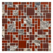 "Sierra 11.75"" x 11.75"" Glass and Natural Stone Mosaic Tile in Versailles Bordeaux"
