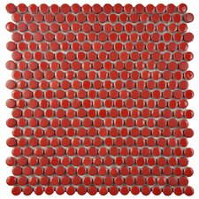 "Astraea 0.62"" x 0.62"" Porcelain Mosaic Tile in Red"