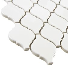 "Arabesque 2-3/4"" x 1-7/8"" Porcelain Glazed Mosaic in Glossy White"