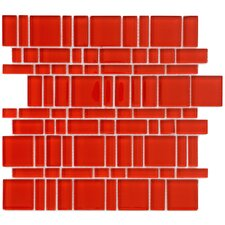 "Sierra 11.75"" x 11.75"" Glass Mosaic Tile in Magic Carnelian"