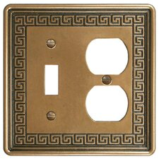 Milton Greek Key Double-Gang Toggle and Duplex Receptacle Combination Wall Plate in Bronze