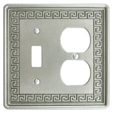 Milton Greek Key Double-Gang Toggle and Duplex Receptacle Combination Wall Plate in Pewter