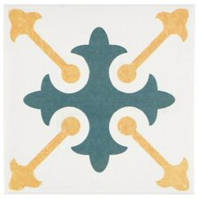 "Revive 7.75"" x 7.75"" Ceramic Hand Painted Tile in White"