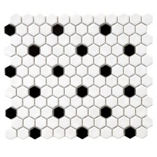 "Retro 0.875"" x 0.875"" Hex Porcelain Mosaic Tile in Glossy White with Black Dots"
