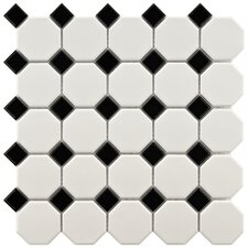 "Retro 11.5"" x 11.5"" Porcelain Mosaic Tile in Matte White and Black"