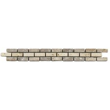 "Boutin 12"" x 1.25"" Travertine Border Tile Trim in Noce Chiaro (Set of 12)"