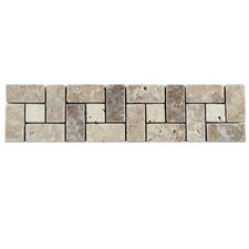 "Boutin 12"" x 3"" Spiral Travertine Border Trim Tile in Noce Chiaro (Set of 12)"